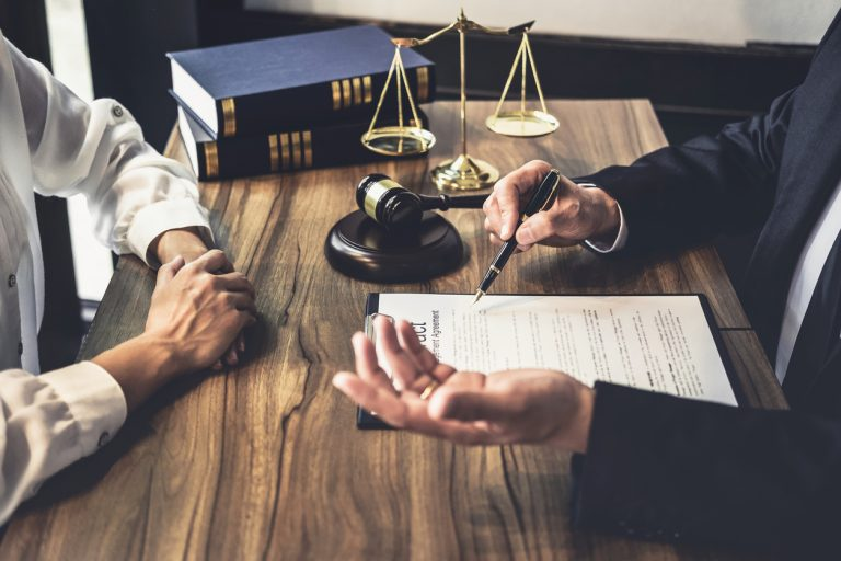 Good service cooperation, Consultation of Businesswoman and Male lawyer or judge counselor having team meeting with client, Law and Legal services concept